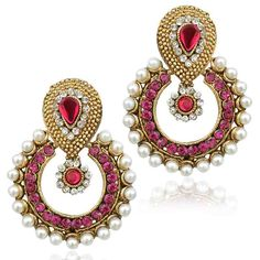 Pearl earring set in a traditional shape glows with warmth of pearls and the ethnic flavour of designs.Rani pink stones add a colourful charm.