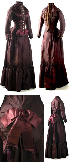 Two-piece dress, 1883. Plum silk taffeta. Worn initially as a wedding dress, this stylish outfit has a second bodice, with plaid velvet lapels and cuffs, a feature that would extend the usefulness of this dress. Charleston Museum blog