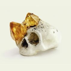 Citrine Growth Skull Ring by Macabre Gadgets From Occulter, great site for art and jewelry