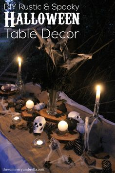 Learn how to design  super rustic and spooky Halloween table decor for your next party!