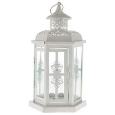 White Metal Lantern with Handle. Featuring cut-out and overlaid flourishes and clear glass, this lantern is as dainty and beautiful. White Lanterns, Metal Lanterns, Led Candles, Candle Lanterns, Lantern Table Centerpieces, Wedding Centerpieces, Carpenter Bee Trap, Bee Traps, Apothecary Jars