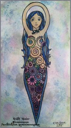 """Flower spiral goddess painting part of my """"Goddess Collection"""" art set, done with Sharpie markers.For more of my work, check out my FB page by clicking the picture, or  Kristinastar.deviantart.com Geminimoondesign.wordpress.com Twitter.com/geminimoons And my designs are sold as prints and about 250 other products at these links: Zazzle.com/gemini_moon Cafepress.com/magickalenchantments Society6.com/geminimoon Redbubble.com/people/geminimoonart And Artofwhere.com/shop/artist/6421"""