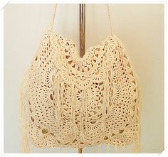 Crochet Boho Bag, This crochet bag is the perfect accessory for your summer outfit. Summer is so close and sun is shining all around , its time for summer fashion :) The crochet bag has enough space for all your belongings :) Entirely handmade crochet by me after my own
