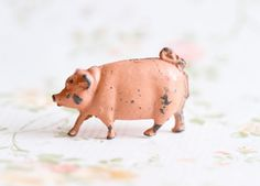 Iron Cast Little Pig  Antique Farm Lead Toy  Made in by Meanglean, $26.00