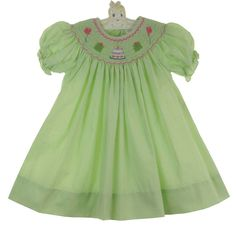NEW Petit Ami Lime Green Checked Bishop Dress with Birthday Embroidery $50.00