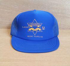 Vintage Snapback Mesh Trucker Hat - Royal Blue Cap for International Guards Union of America - Rocky Flats, CO