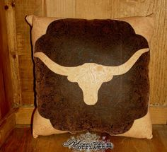 Longhorn Tooled Pillow - $40.00