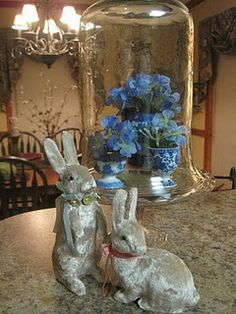 Bunnies with Blue Willow egg cups under cloche