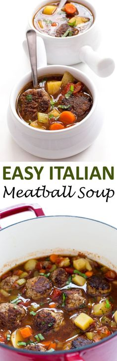 Italian Meatball Soup loaded with vegetables, beef meatballs and Italian broth. A super satisfying and hearty soup!   chefsavvy.com #recipe #Italian #meatballs #soup #beef