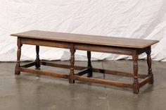 20th Century Wooden Turned Leg Bench  2