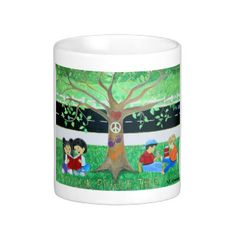 "This coffee mug has a print of a anti-bully mural that I painted at an elementary school.  I used part of the painting of the mural to create a ""Let There Be Peace At Our Schools."" I enjoy painting murals with positive messages to help our children."