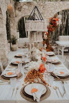 We're taking a trip to Tulum, Mexico for today's wedding inspiration. From the boho-chic backdrop to the macramé chandeliers and the subtle hints of orange, there's no shortage of amazing details. If you love earth tones, organic textures, and elegant wedding inspo, you're going to love this stylish inspiration shoot. See more wedding inspiration at rusticweddingchic.com | Photo: @letyaltamphotography Elegant Wedding, Boho Wedding, Rustic Wedding, Boho Bride, Earth Tones, Tulum, Boho Chic, Backdrops, Table Settings
