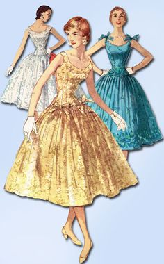 1950s Vintage Simplicity Sewing Pattern 1153 Misses Cocktail or Prom Dress Sz 14 #Simplicity #DressPattern