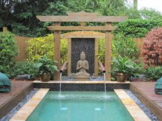 Some people party in the pool, while others use it as a place to enjoy and de-stress. And that's exactly what was done to this beautiful pool area. Zen accents and tranquil inspired style are a perfect compliment to the minimalistic design.{found on site}. - Creating Zen Nooks & Crannies for Your Home