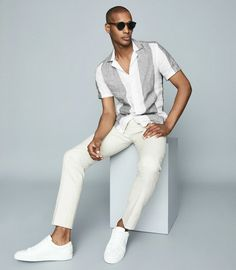 rochgoudreau - 0 results for summer outfits Linen Pants Outfit, White Pants Outfit, Blazer Outfits Men, Mens Linen Outfits, Casual Outfits, Summer Outfits Men, Beach Outfits, Men Summer, Mens Designer Shirts