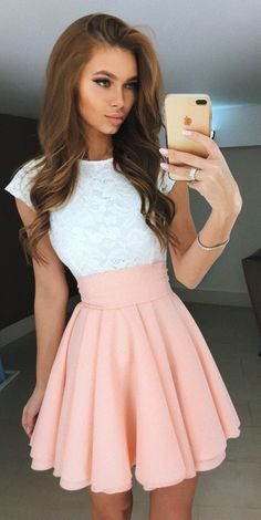 summer outfits White Lace Top + Pink Skirt