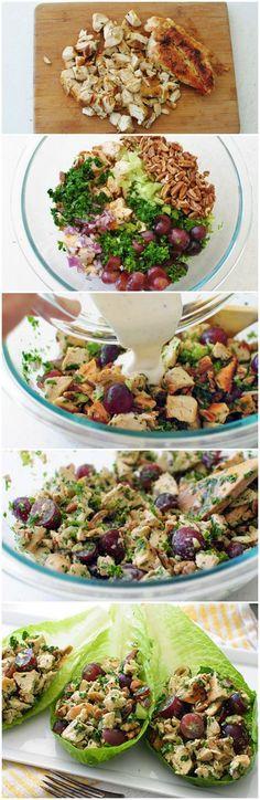 Salade de poulet avec yogourt et raisins. Serait bon sur des endives!