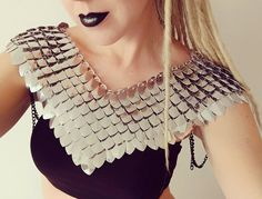 Menthu Scale Chest Piece  Unisex silver gold black scalemail