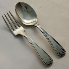 Sterling Silver Child's Fork Spoon Set Gorham Etruscan ca. 1913 Antique from Antik Avenue on Ruby Lane SOLD!