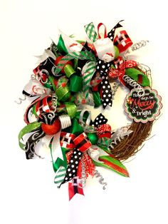 Merry Christmas Wreath, Christmas Grapevine Wreath, Christmas Funky Bow Wreath, Holiday Wreath, Holiday Decor, handmade by FancyWreathLady on Etsy