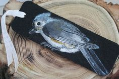 Felt Titmouse Bookmark  Handpainted Bird in by ArtfullyReDesigned, $14.00