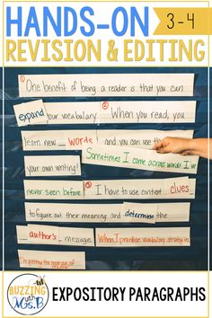 These hands-on activities for revising and editing are better than an anchor chart or a worksheet! Teach students about grammar, word choice, spelling, sentence structure, punctuation, capitalization, and so much more in one paragraph a week through manipulating sentence strips to making changes in expository paragraphs. Great for a station for students to practice these skills, too! #teachingwriting #revisingediting