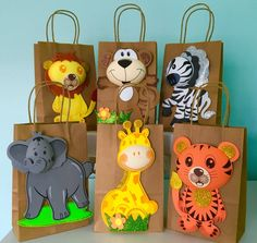 Set of 6 Treat Bags, Height Gift Bags with Safari Animals Foam Decorations for a Baby Shower, 3 different styles Jungle Theme Birthday, Safari Theme Party, Baby Birthday Cakes, 2nd Birthday Parties, Kids Gift Bags, Treat Bags, Safari Jungle, Shower Bebe, Kids Party Themes