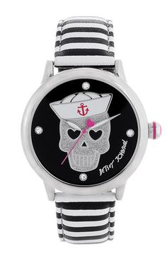 My newest addition to my Betsey collection- a birthday treat to myself!  Betsey Johnson Sailor Skull Dial Watch