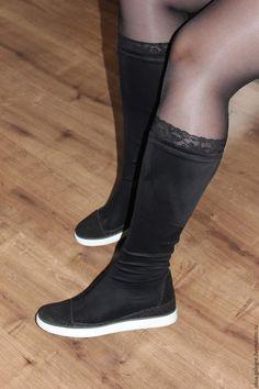 Купить Сапожки летние в спортивном стиле - черный, летние, сапоги женские, сапоги на заказ