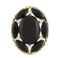 Fashion Cocktail Ring; 4cm L; Gold Metal; Black Gemstones; Clear Rhinestones; Stretches To Fit; Eileen's Collection. $19.99. Save 50% Off!