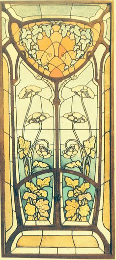 Art Nouveau stain glass window