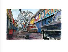 Bob Dylan Amusement Park Alleyway, 2016 Giclee print on paper. Signed by Bob Dylan, in margin lower right, numbered in margin lower left. Certificate Of Authenticity. Paper size 30 x 23 in x cm Edition of 295 Bob Music, Bob Dylan Art, Alleyway, Inspirational Wall Art, Amusement Park, Contemporary Artists, Paths, Art Gallery, Castle