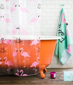 orange clawfoot tub and pink flamingos shower curtain :)