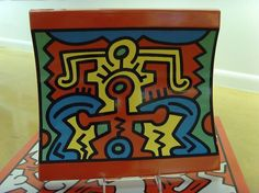 Spirit Of Art No.2 - 1992 Ceramic Platter - Edition of 750  Issued by the Estate of Keith Haring, produced by Villeroy & Boch,Germany 12H X 12-1/4W X 2D in.