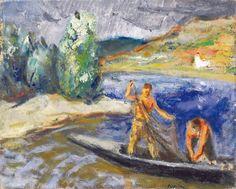 Berény Róbert (1887-1953)  Zebegényi halászok  Olaj, vászon, 40x50 cm
