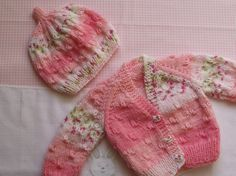 baby cardigan / jacket with matching hat   hand by bythemill