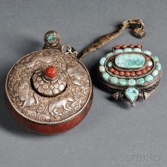 Two Amulet Boxes, Gau, Tibet, 20th century