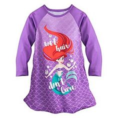 Ariel Nightshirt for Girls   Disney Store Your ocean adventurer will happily dive into bed every evening wearing Ariel's dreamy nightshirt. Silvery bubbles surround the Little Mermaid on this comfy nightshirt that's sure to bring about wave of excitement.