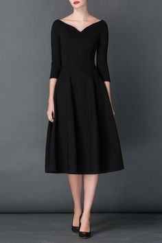 Cys Black A Line Midi Hepburn Dress   Midi Dresses at DEZZAL This could probably be my one LBD if I had to pick just one.