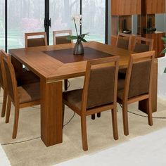 12 Contemporary Dining Table Design Ideas For Your Dining Room Comfort Wooden Dining Table Designs, Dinning Table Design, Wooden Dining Chairs, Contemporary Dining Table, Dining Decor, Decoration Table, Dining Room Table, 8 Seater Dining Table, Dining Room Sets