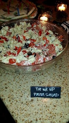 Pure Romance Party Food Ideas:   Tie Me Up Pasta Salad ;)