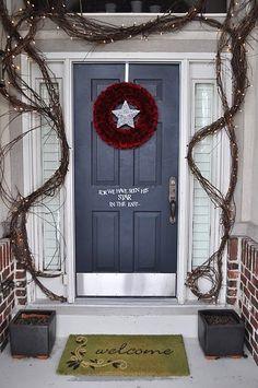 front door decor LOVE the grapevine garland Christmas Front Doors, Christmas Porch, Christmas Design, Outdoor Christmas, Winter Christmas, Handmade Christmas, Christmas Lights, Christmas Holidays, Christmas Decorations