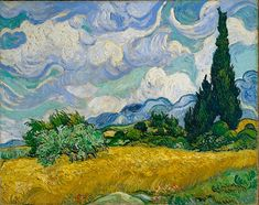 """A Wheatfield with Cypresses, July 1889. In a letter to Theo """"I have a canvas of cypresses with some ears of wheat, some poppies, a blue sky like a piece of Scotch plaid; the former painted with a thick impasto like the Monticelli's, and the wheat field in the sun, which represents the extreme heat, very thick too."""" The cypress tree appealed both to Van Gogh's eye and his imagination.He often described them as 'sombre' and once referred to the cypress as 'a splash of 'black' in a sunny…"""