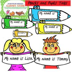 Welcome School - Color Name Tags Clipart Set for Personal