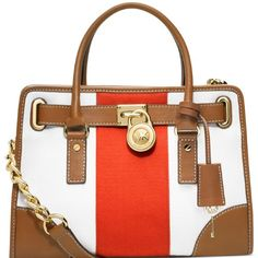 Women's Top-Handle Handbags - Michael Kors Hamilton East West Mono Stripe Mandarin  White * For more information, visit image link.