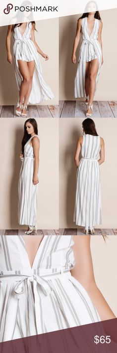 """""""Harlem Shadows"""" Maxi Striped Romper Maxi striped romper. This is an ACTUAL PIC of the item. Pictures 1-3 taken by me and pic 4 is an official Bare Anthology collaboration. Please do not use photos as we own all copyrights. Brand new. Junior sizing. NO TRADES. PRICE FIRM. Bare Anthology Pants Jumpsuits & Rompers"""