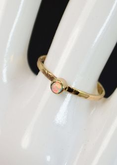 Classic Solid 14k Gold Opal Ring 3mm gold solitaire by Alaridesign