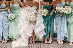 Sometimes an array of bridesmaid dress colors can look prettier than just picking one. | 31 Impossibly Fun Wedding Ideas