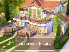 Luxurious Estate by Cross Architecture from TSR for The Sims 4 Sims 4 House Plans, Sims 4 House Building, Sims 4 Houses Layout, House Layouts, Sims 4 Mods, Sims 4 House Design, The Sims 4 Lots, Sims Free Play, Casas The Sims 4