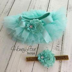 SET Mint/Aqua tutu skirt bloomers diaper cover, shabby chiffon and satin rhinestone flower headband bow, newborn infant toddler baby girl birthday photo shoot by HoneyLove Boutique